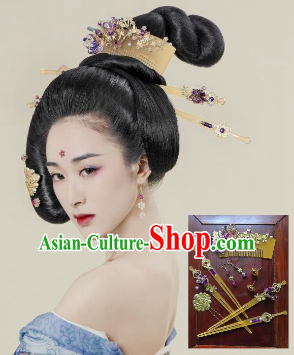 Traditional Chinese Ancient Palace Lady Hair Accessories Hairpins Hair Comb Complete Set for Women