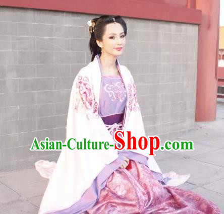 Chinese Ancient Tang Dynasty Empress Wang of Li Zhi Embroidered Hanfu Dress Replica Costume for Women
