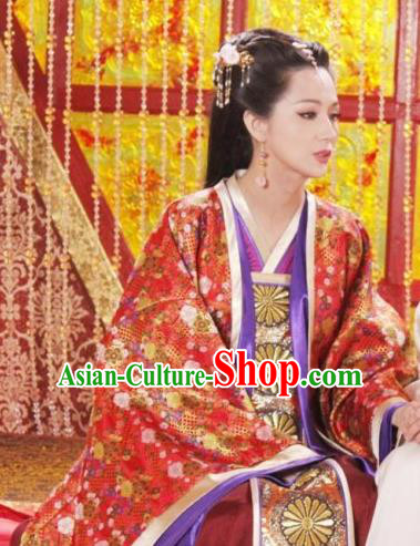 Chinese Ancient Tang Dynasty Li Zhi Empress Wang Embroidered Hanfu Dress Replica Costume for Women
