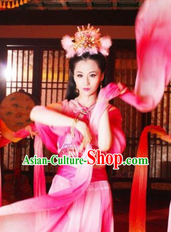 Chinese Ancient Sui Dynasty Imperial Consort Chen Embroidered Hanfu Dress Replica Costume for Women