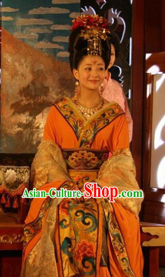 Chinese Ancient Tang Dynasty Imperial Consort Yang Hanfu Dress Replica Costume for Women