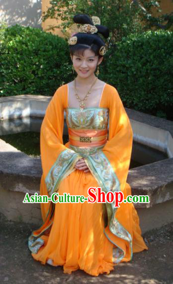 Chinese Ancient Tang Dynasty Princess Yuzhen Hanfu Dress Embroidered Replica Costume for Women