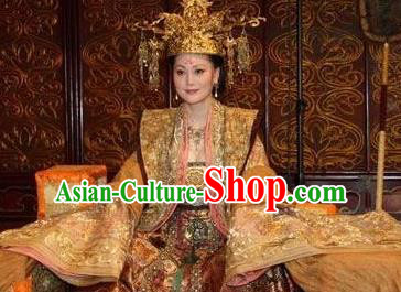 Traditional Chinese Ancient Tang Dynasty Queen Wu Zetian Embroidered Replica Costume and Headpiece Complete Set for Women