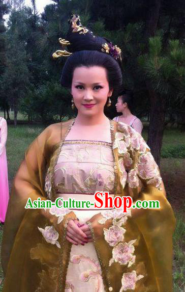 Traditional Chinese Ancient Tang Dynasty Empress Embroidered Replica Costume for Women