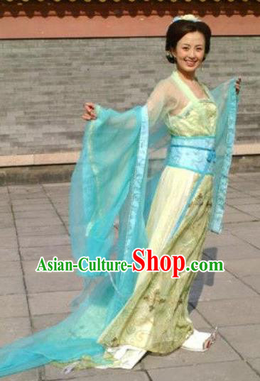 Chinese Ancient Tang Dynasty Imperial Consort Xu Hanfu Dress Embroidered Replica Costume for Women