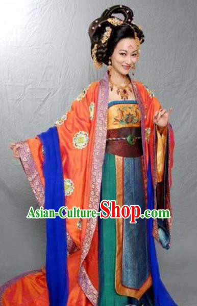 Traditional Chinese Tang Dynasty Imperial Consort Wei of Li Shimin Embroidered Replica Costume for Women