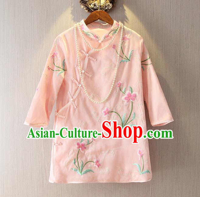 Chinese Traditional National Costume Cheongsam Blouse Tangsuit Embroidered Pink Qipao Shirts for Women
