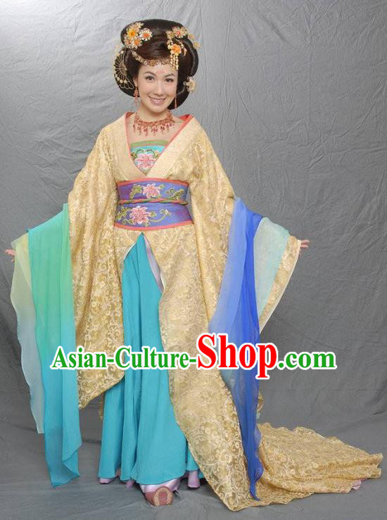 Chinese Ancient Tang Dynasty Imperial Concubine Xian Embroidered Replica Costume for Women
