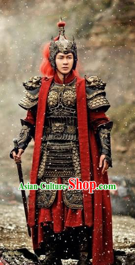 Chinese Tang Dynasty General Military Officer Li Mu Replica Costumes Helmet and Armour for Men
