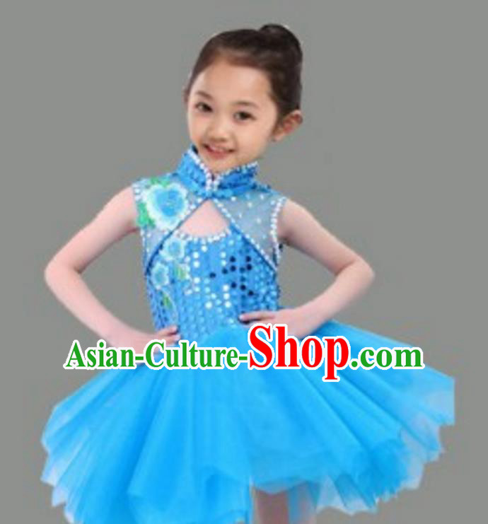 Chinese Classical Stage Performance Dance Costume, Children Chorus Modern Dance Blue Dress for Kids