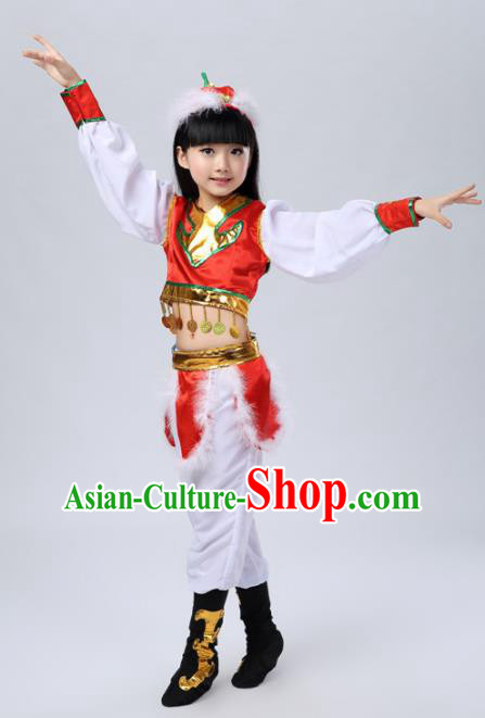 Traditional Chinese Mongol Nationality Dance Costume, Mongols Children Folk Dance Clothing for Kids