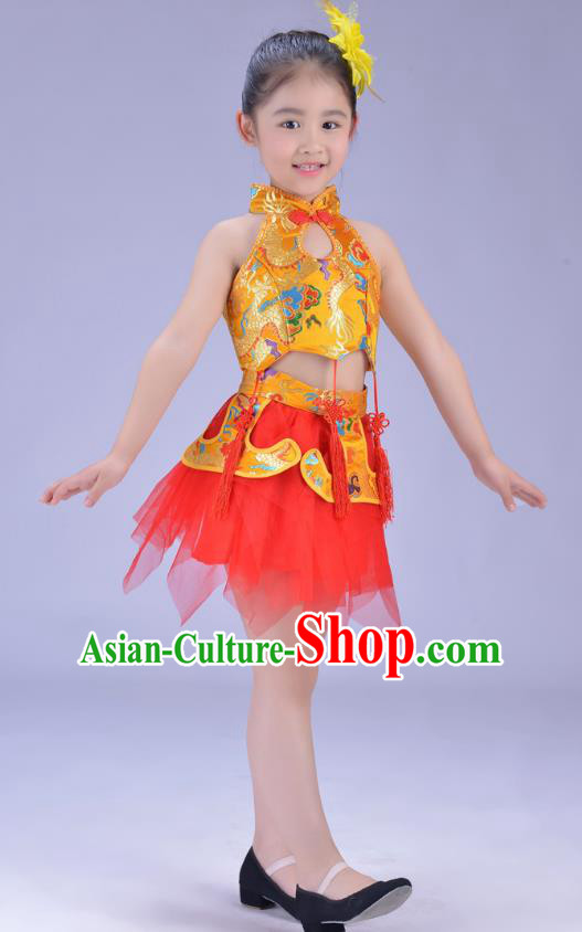 Chinese Classical Stage Performance Dance Costume, Children Yangko Dance Yellow Bubble Dress for Kids