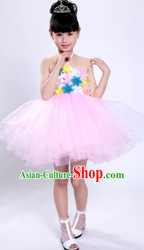 Chinese Classical Stage Performance Modern Dance Costume, Children Dance Pink Bubble Dress for Kids