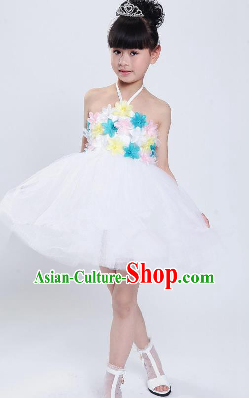 Chinese Classical Stage Performance Modern Dance Costume, Children Dance White Bubble Dress for Kids