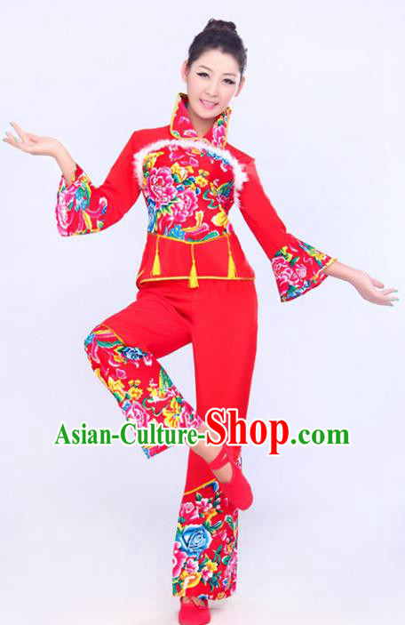 Chinese Traditional Fan Dance Printing Costume Folk Dance Drum Dance Red Uniform Yangko Clothing for Women