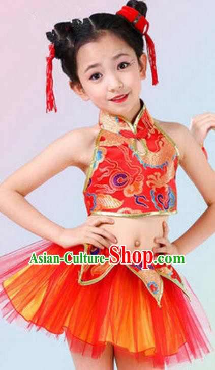 Traditional Chinese Yangge Dance Costume, Folk Dance Red Uniform Yangko Clothing for Kids