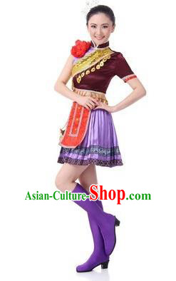 Traditional Chinese Miao Nationality Dance Costume, Chinese Hmong Minority Dance Pleated Skirt for Women