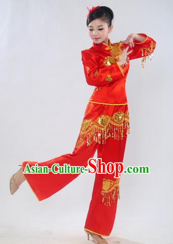 Chinese Traditional Folk Dance Costume Yangge Dance Red Uniform Yangko Clothing for Women