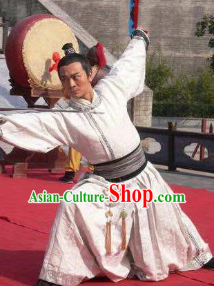 Traditional Chinese Ancient Tang Dynasty Swordsman General Xue Rengui Replica Costume for Men