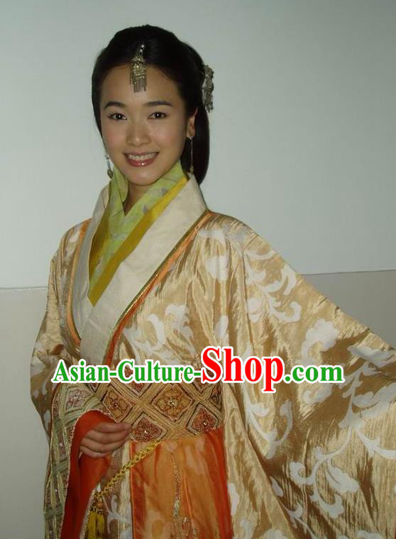 Traditional Ancient Chinese Han Dynasty Dowager Xin Zhui Hanfu Dress Replica Costume for Women