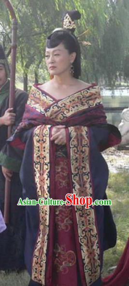 Traditional Chinese Han Dynasty Queen Mother Lv Zhi Hanfu Dress Ancient Empress Replica Costume for Women