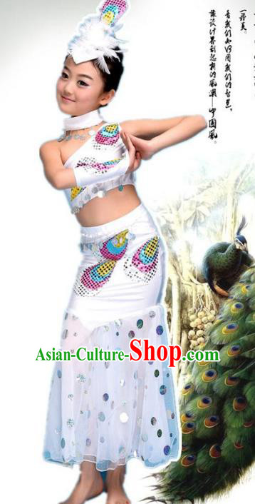 Traditional Chinese Ethnic Nationality Pavane Costume, Chinese Peacock Dance White Clothing for Kids