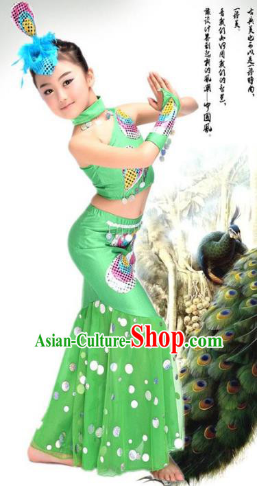 Traditional Chinese Ethnic Nationality Pavane Costume, Chinese Peacock Dance Green Clothing for Kids