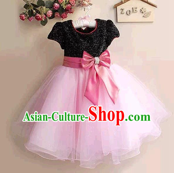 Top Grade Stage Performance Children Compere Costume, Professional Chorus Singing Pink Dress for Kids