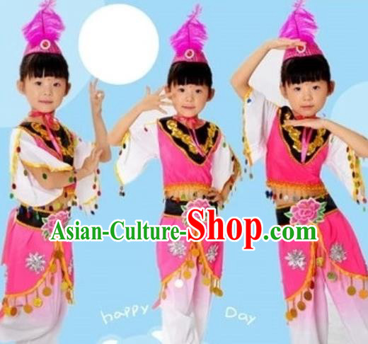 Traditional Chinese Uyghur Nationality Dance Costume, Chinese Uigurian Minority Dance Clothing for Kids