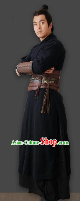 Chinese Ancient Qin Dynasty Swordsman General Pang Replica Costume for Men