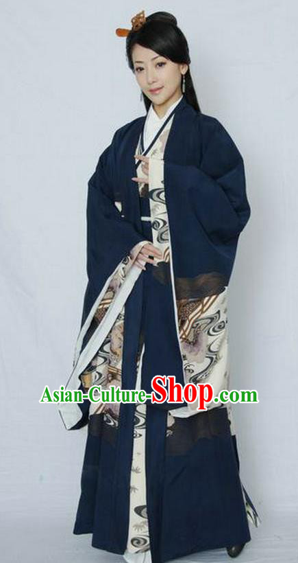 Traditional Chinese Han Dynasty Empress Lv Zhi Hanfu Dress Ancient Queen Replica Costume for Women