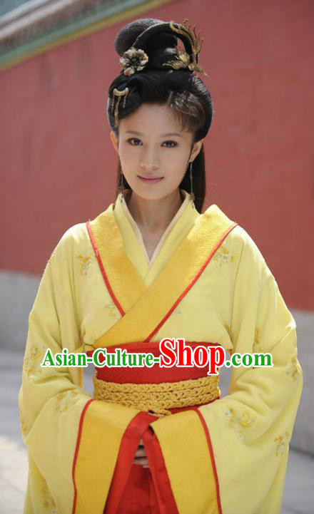Traditional Chinese Warring States Period Wu Kingdom Imperial Concubine Xi Shi Hanfu Dress Embroidered Replica Costume for Women