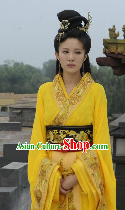 Traditional Chinese Warring States Period Imperial Concubine Xi Shi Hanfu Dress Embroidered Replica Costume for Women