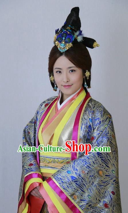 Traditional Chinese Ancient Warring States Period Qin Kingdom Imperial Consort Mengzhao Embroidered Replica Costume for Women