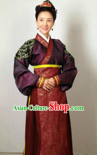 Traditional Chinese Ancient Qin Kingdom Court Maid Embroidered Replica Costume for Women