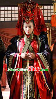 Traditional Chinese Ancient Qin Kingdom Queen Mi Zhu Wedding Dress Embroidered Replica Costume for Women