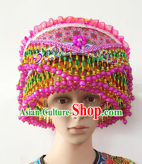 Traditional Chinese Yi Nationality Dance Hair Accessories Pink Beads Tassel Hats Hmong Ethnic Minority Headwear for Women