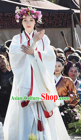 Traditional Chinese Ancient Chu Kingdom Young Fate Goddess Hanfu Dress Embroidered Replica Costume for Women