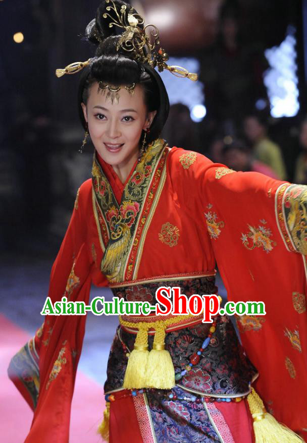 Traditional Chinese Ancient Warring States Period Kingdom Wu Imperial Concubine Wei Hanfu Red Dress Embroidered Replica Costume for Women