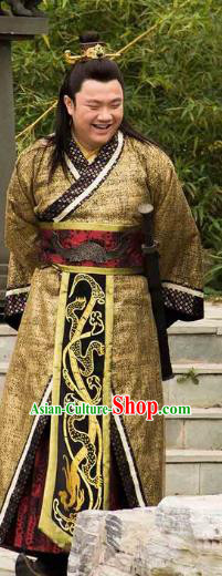 Traditional Chinese Ancient Warring States Period Qin State King Ying Dang Replica Costume for Men