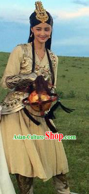 Chinese Ancient Han Dynasty Huns Empress Princess Jie You Replica Costume for Women