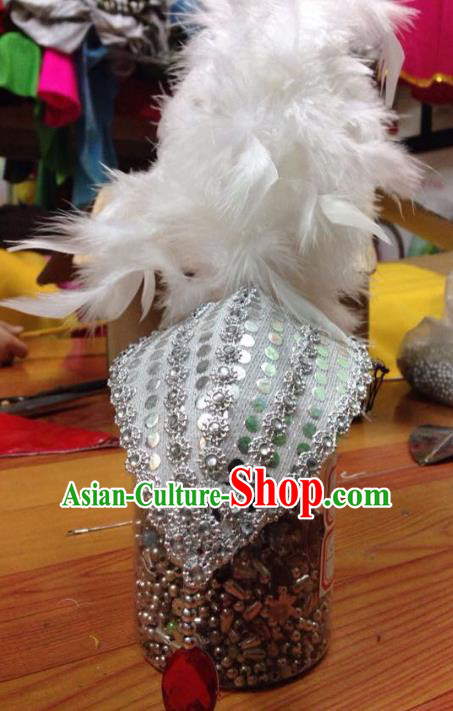Chinese Traditional Folk Dance Hair Accessories Yangko White Feather Headwear for Women