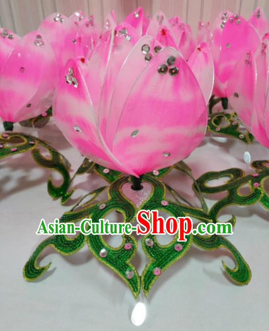 Chinese Traditional Folk Dance Hair Accessories Yangko Dance Pink Lotus Headwear for Women