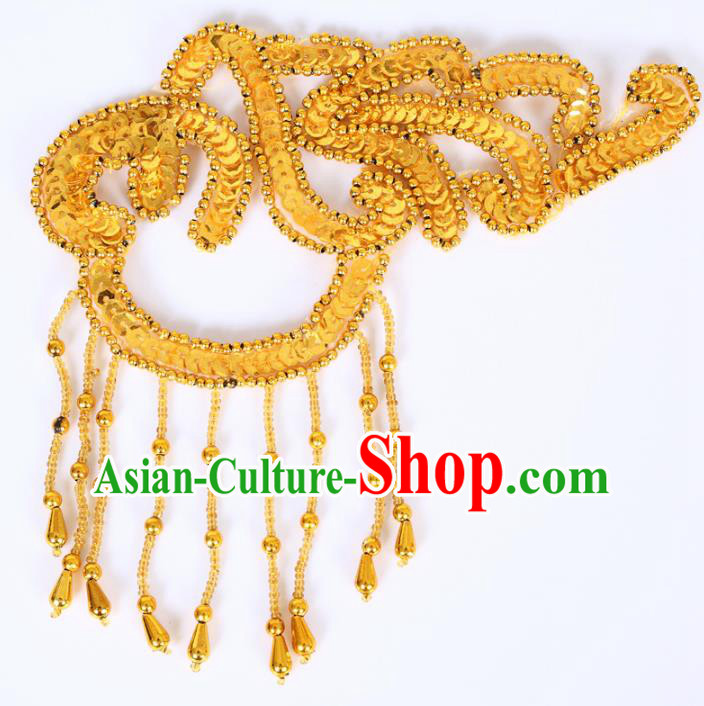 Chinese Traditional Folk Dance Hair Accessories Yangko Dance Golden Sequins Headwear for Women