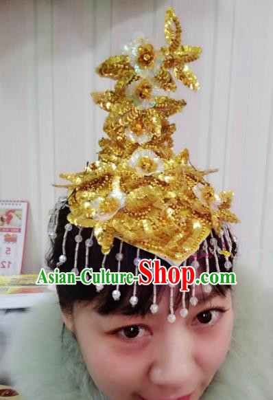 Chinese Traditional Folk Dance Hair Accessories Classical Yangko Dance Golden Sequins Headwear for Women