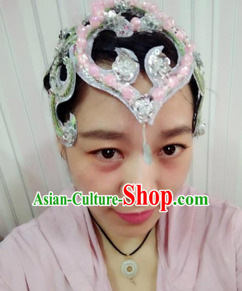Chinese Traditional Classical Dance Hair Accessories Folk Dance Yangko Pink Flowers Headwear for Women