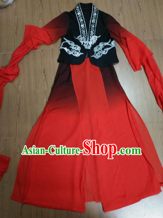 Traditional Chinese Classical Dance Costume, China Folk Dance Yanko Water Sleeve Red Clothing for Women