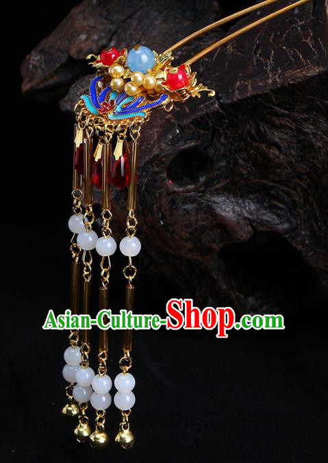 Chinese Ancient Hair Accessories Traditional Tassel Step Shake Hairpins Headwear for Women