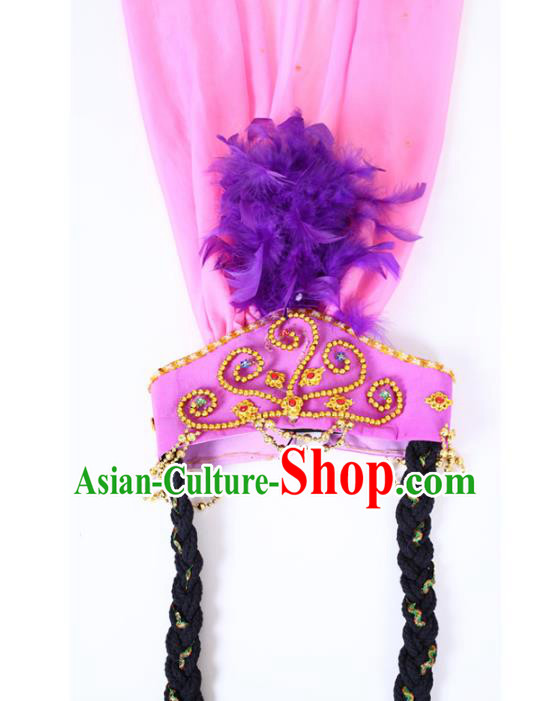 Chinese Traditional Classical Dance Hair Accessories Uyghur Nationality Purple Feather Headwear for Women