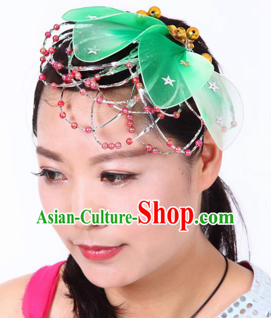 Chinese Traditional Classical Dance Hair Accessories Folk Dance Yangko Green Leaf Headwear for Women
